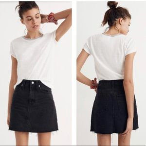 Madewell black raw hem skirt size 27 new with tags